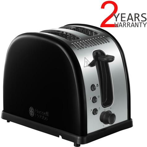Russell Hobbs RU-21293 Legacy 2-Slice Toaster | Reheat Function | Wide Slot Black Thumbnail 1