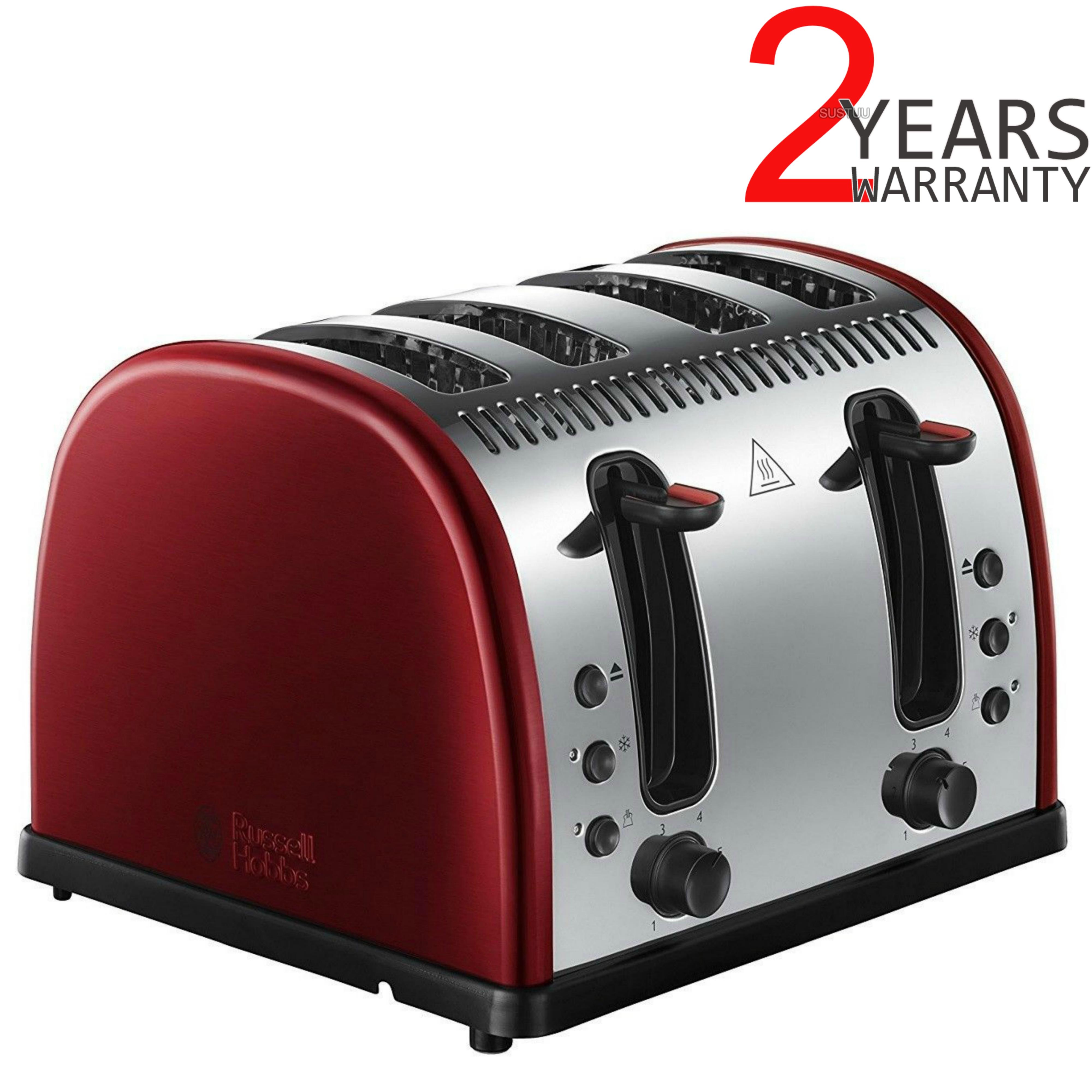 Russell Hobbs RU-21301 Legacy 4-Slice Toaster | 2 & 4 Slice Operation | Metallic Red
