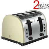 Russell Hobbs RU-21302 Legacy 4-Slice Stainless Steel Toaster | 48% Faster | Cream