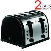 Russell Hobbs RU-21303 Legacy 4-Slice Stainless Steel Toaster | 48% Faster | Black