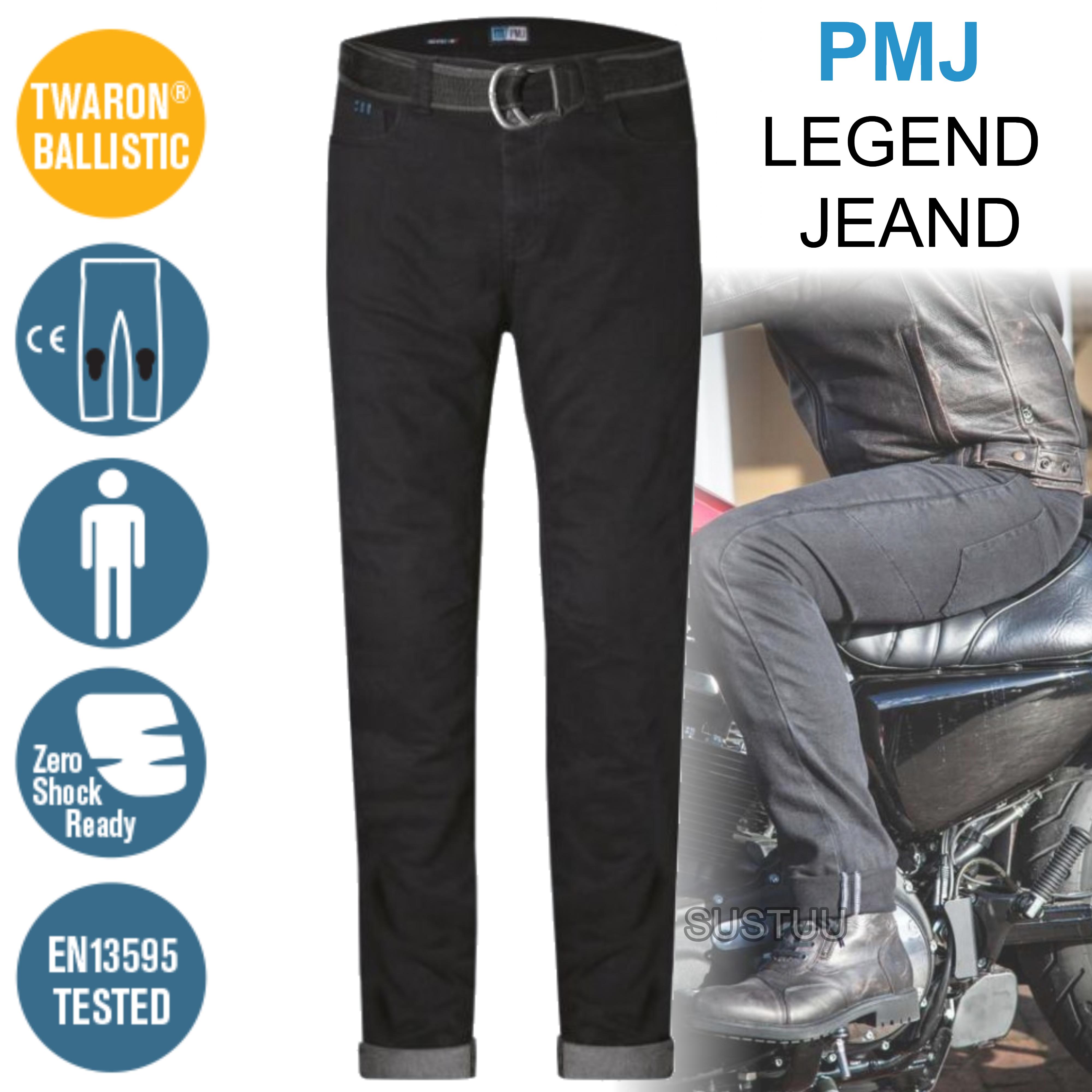 2023d84dd0 PMJ Rider Motorcycle Mens Slim Fit Jeans EN 13595-2 Tested 100%  TWARON Black   Sustuu