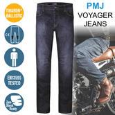 PMJ Voyager Motorcycle Mens Std Leg Jeans|EN 13595-2/4 Tested|100% TWARON|M Blue