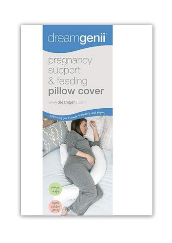 Dreamgenii Pregnancy Support & Feeding Pillow COVER | 100% Cotton & Washbale | White Thumbnail 3