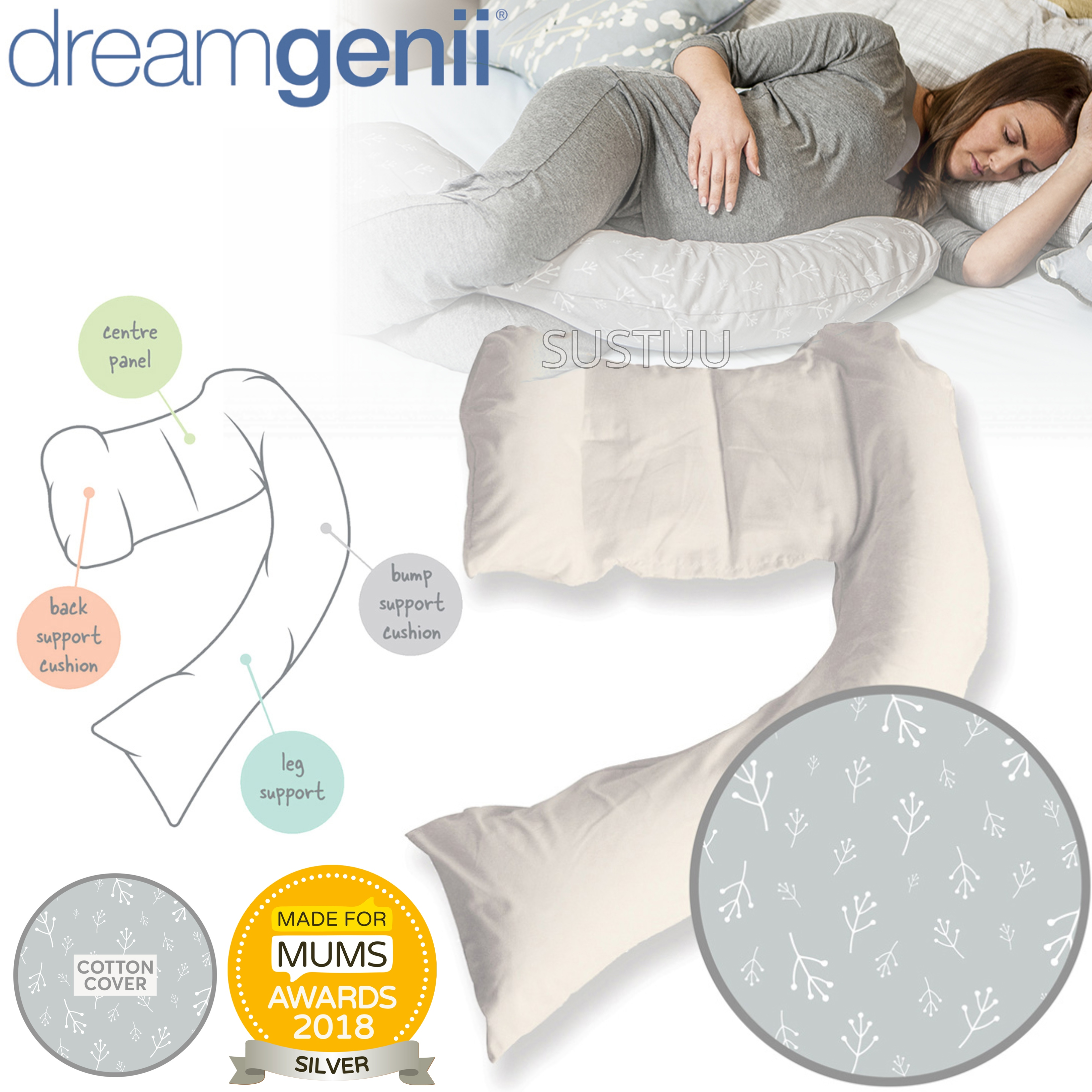 Dreamgenii Pregnancy Support & Feeding Pillow | Comfortable+Spacesaver | Floral Grey