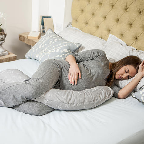 Dreamgenii Pregnancy Support & Feeding Pillow   Comfortable+Spacesaver   Floral Grey Thumbnail 5