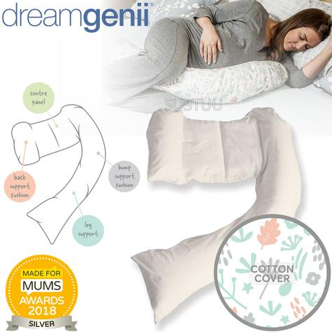 Dreamgenii Pregnancy Support & Feeding Pillow | Comfortable+Spacesaver | Coral,Green Thumbnail 1