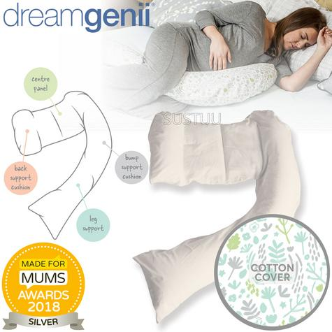 Dreamgenii Pregnancy Support & Feeding Pillow | Comfortable+Spacesaver | Grey Green Thumbnail 1