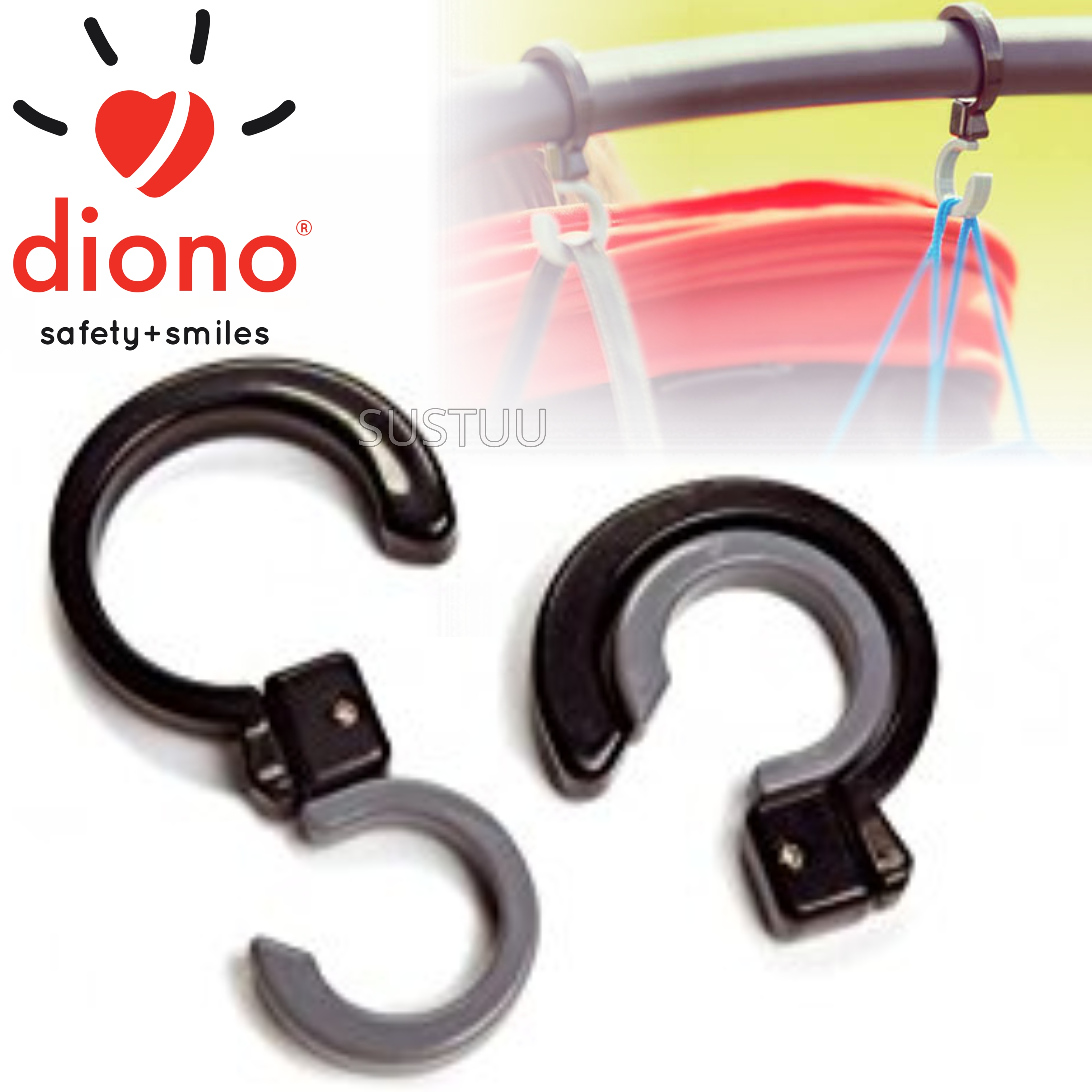 Diono Buggy Universal Hook Set of 2 | Weight-7 lbs Per Hook | Rotate 360° | Grey/black