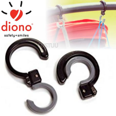 Diono Buggy Universal Hook Set of 2 | Weight-7 lbs Per Hook | Rotate 360° | Grey/black Thumbnail 1