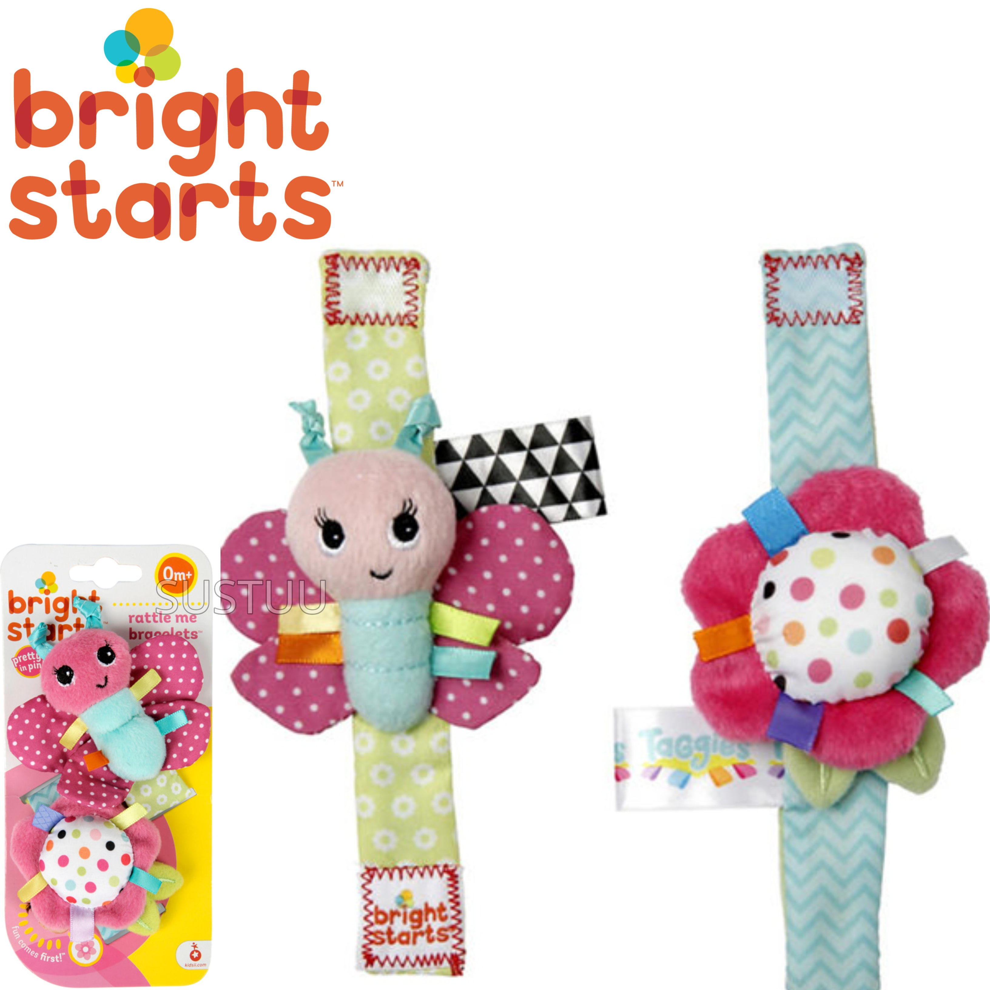 Bright Starts Taggies Pretty in Pink Bracelets | Kids On The Go Fun | Rattle+Crinkle