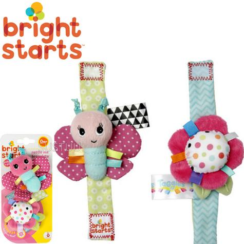 Bright Starts Taggies Pretty in Pink Bracelets | Kids On The Go Fun | Rattle+Crinkle Thumbnail 1
