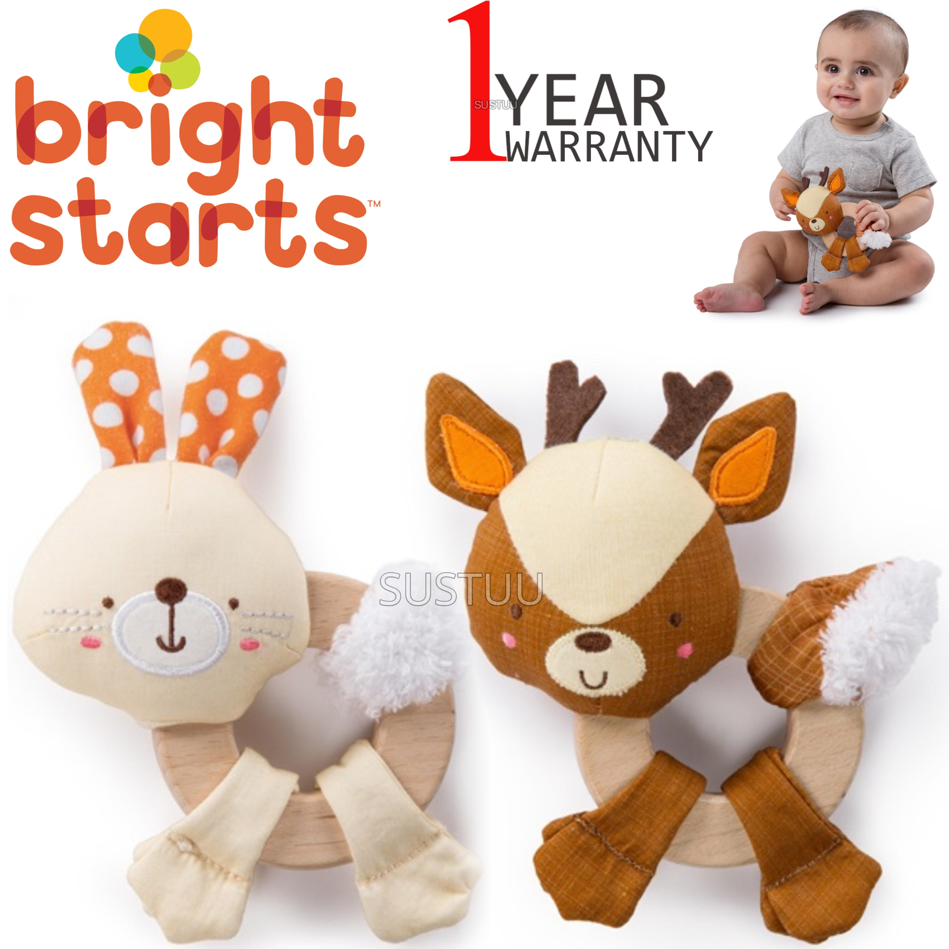 Bright Starts Simply Clutch and Hold Wood Toy   Kid Activity Toy With Rattle Sound