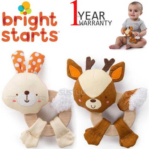 Bright Starts Simply Clutch and Hold Wood Toy   Kid Activity Toy With Rattle Sound Thumbnail 1