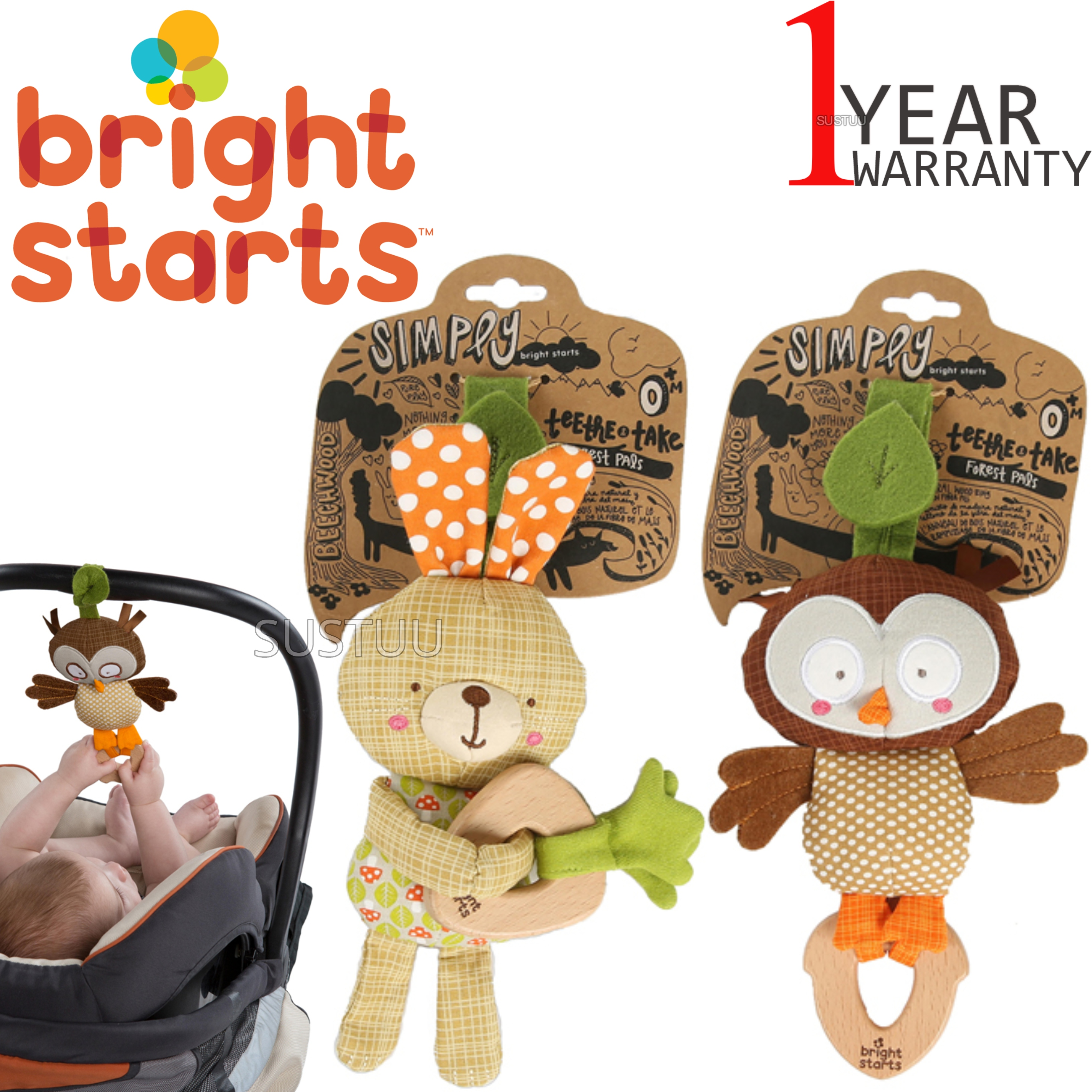 Bright Starts Simply Teethe & Take Forest Pal | Kids Wood Teether+Soft Chime Sound