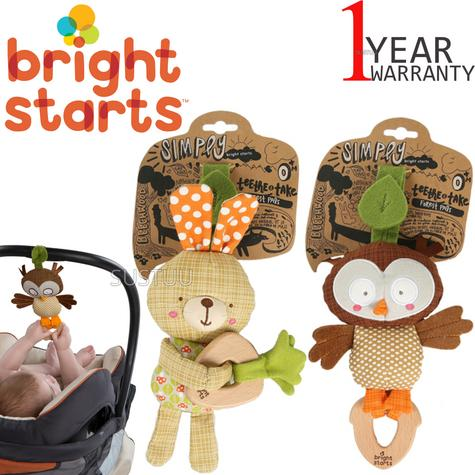 Bright Starts Simply Teethe & Take Forest Pal | Kids Wood Teether+Soft Chime Sound Thumbnail 1