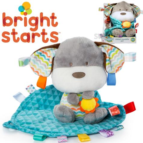 Bright Starts Taggies Sweet Swaddle Pals | Kids Cuddly Puppy Toy With Soft Blankie Thumbnail 1