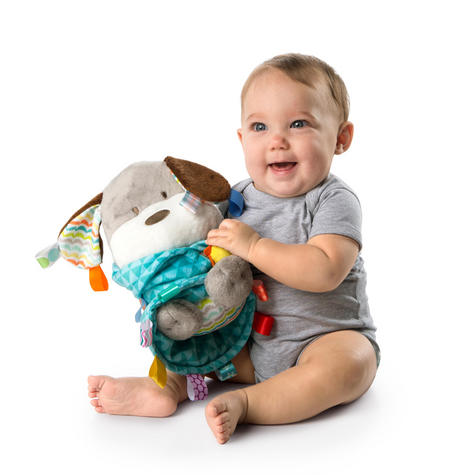 Bright Starts Taggies Sweet Swaddle Pals | Kids Cuddly Puppy Toy With Soft Blankie Thumbnail 6
