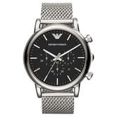Emporio Armani Classic Chronograph Black Dial Stainless Steel Men's Watch AR1808