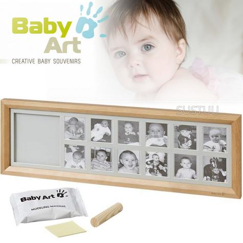 Baby Art First Year Print Frame | 12 Pictures + Baby's Hand Or Foot Print | Giftware Thumbnail 1