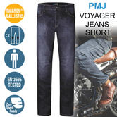 PMJ Voyager Motorcycle Mens Short Leg Jeans|EN 13595-2/4 Tested|100% TWARON|M Blue