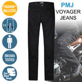 PMJ Voyager Motorcycle Mens Std Leg Jeans|EN 13595-2/4 Tested|100% TWARON|Black