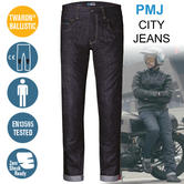 PMJ City Motorcycle/Bike Mens Jeans|EN 13595-2/4 Tested|100% TWARON|Raw Blue