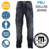 PMJ Dallas Motorcycle/Bike Mens Denim Jeans|EN 13595-2/4 Tested|100% TWARON|Mid