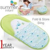 Summer Infant Fold & Store Bath Sling | Head & Body Support For Newborns | Washable
