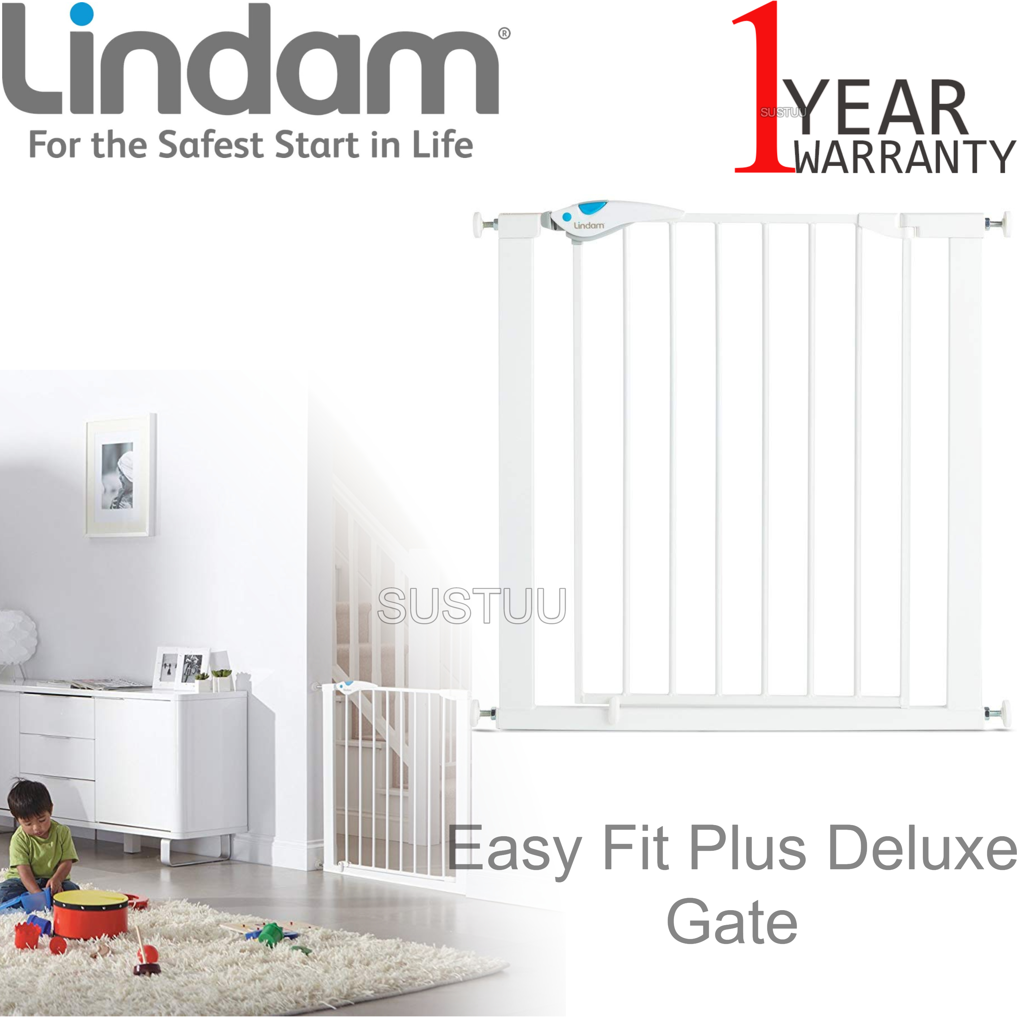 Lindam Easy Fit Plus Deluxe Pressure Safety Gate 76 82cm 2 Way