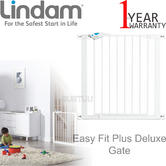 Lindam Easy Fit Plus Deluxe Pressure Fit Safety Gate-76-82cm | 2 Way Opening | White