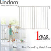 Lindam Push To Shut Easy Close Extending Metal Safety Gate | Tilt+Lift handle | New