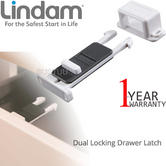 Lindam Xtra Guard Dual Locking Drawer Latch | Securing Kitchen & Bathroom Drawers | Pack Of 2