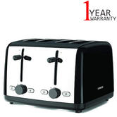 Kenwood Scene Black 4-Slice Toaster | 6 Browning Levels | Defrost Setting | 1800 Watts
