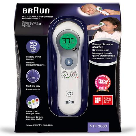 Braun NoTouch & Forehead Thermometer | Colour-Coded Display | 2 Second Fast Reading Thumbnail 2