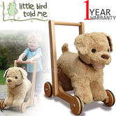 Little Bird Told Me | Dexter Dog - Kids Push & Ride Along Soft Toy/Walker | Washable