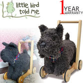 Little Bird Told Me | Scottie Dog - Kids Push & Ride Along Soft Toy/Walker | Washable