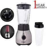 Russell Hobbs 2 in 1 Stainless Steel Blender | 1.5L Glass Jug | 2 Speeds | 600W Power