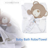 Silvercloud Cuddle Hooded Robe Little Star | 100% Plush Cotton | Unisex | Bathtime Fun | +0m