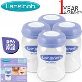 Lansinoh Plastic Milk Storage Baby Feeding Bottles | With Collars & Sealing Discs | Pack Of 4