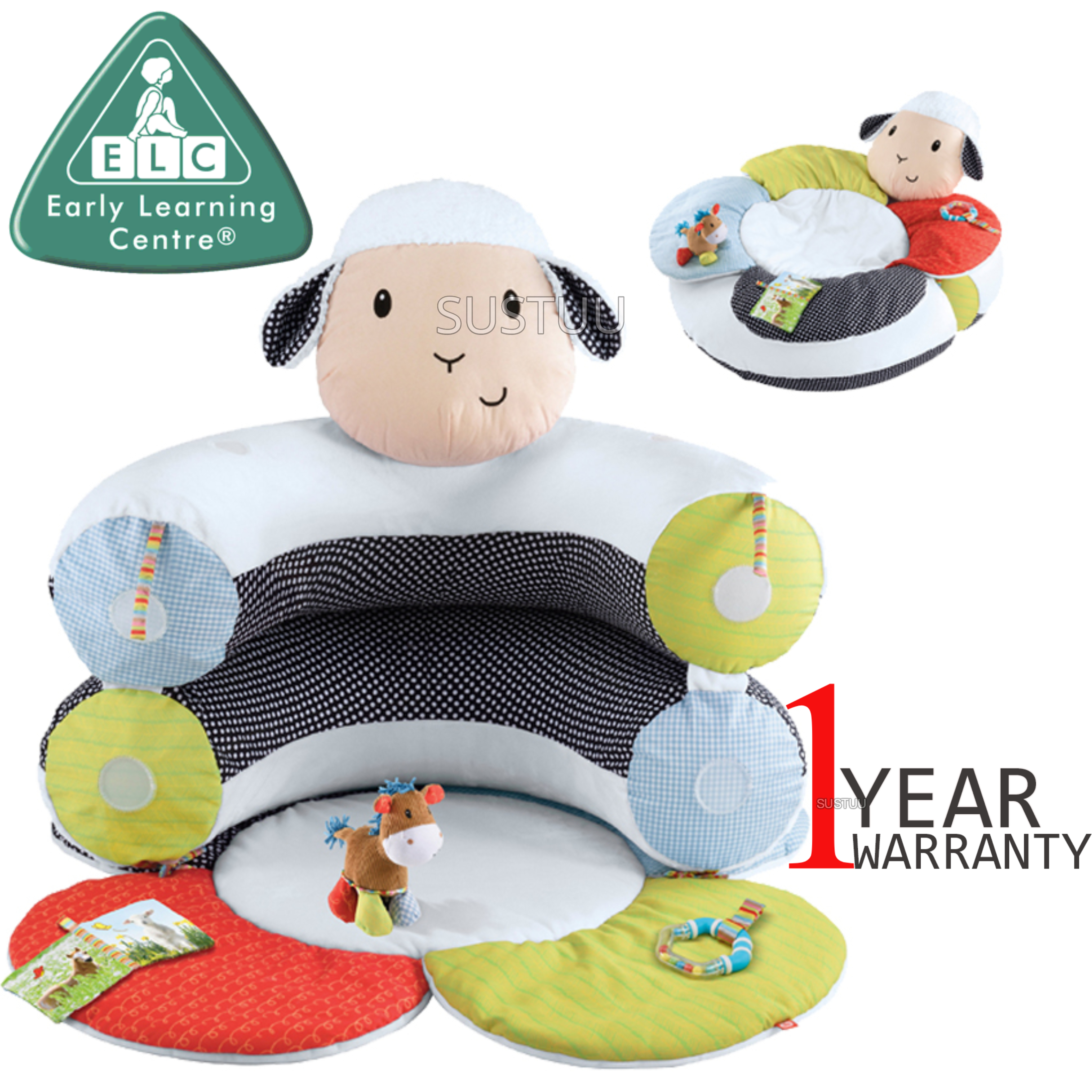 ELC Blossom Farm Lily Lamb Sit Me Up Cosy | Kids Soft Tummy Time Play Mat | x3 Toys