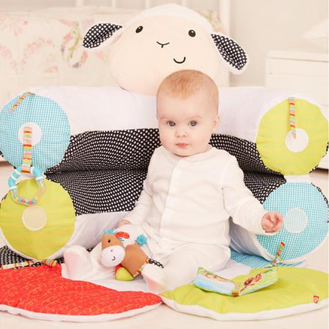 ELC Blossom Farm Lily Lamb Sit Me Up Cosy   Kids Soft Tummy Time Play Mat   x3 Toys Thumbnail 7