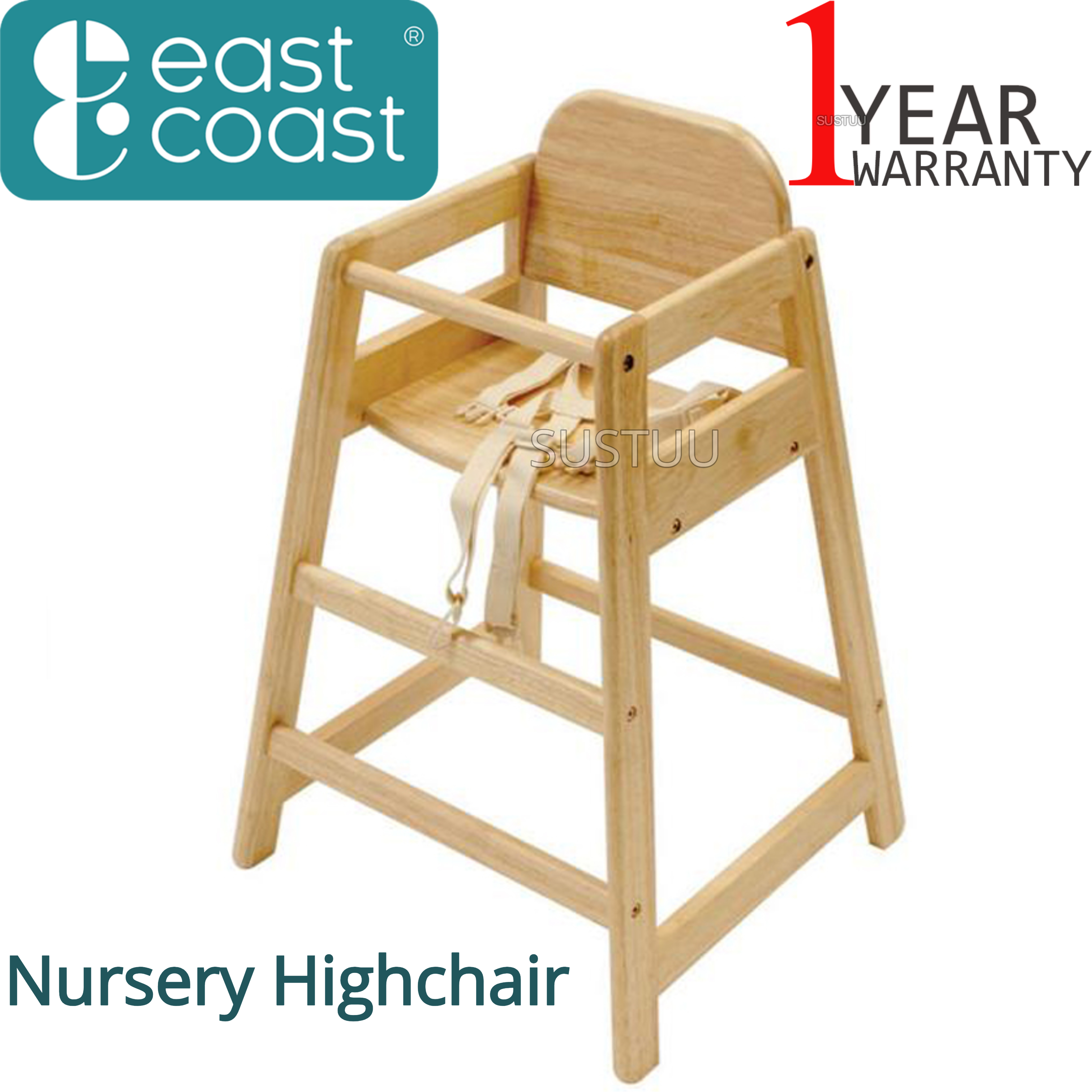 East Coast Nursery Café Natural Highchair | Kids Wooden Chair With Safety harness