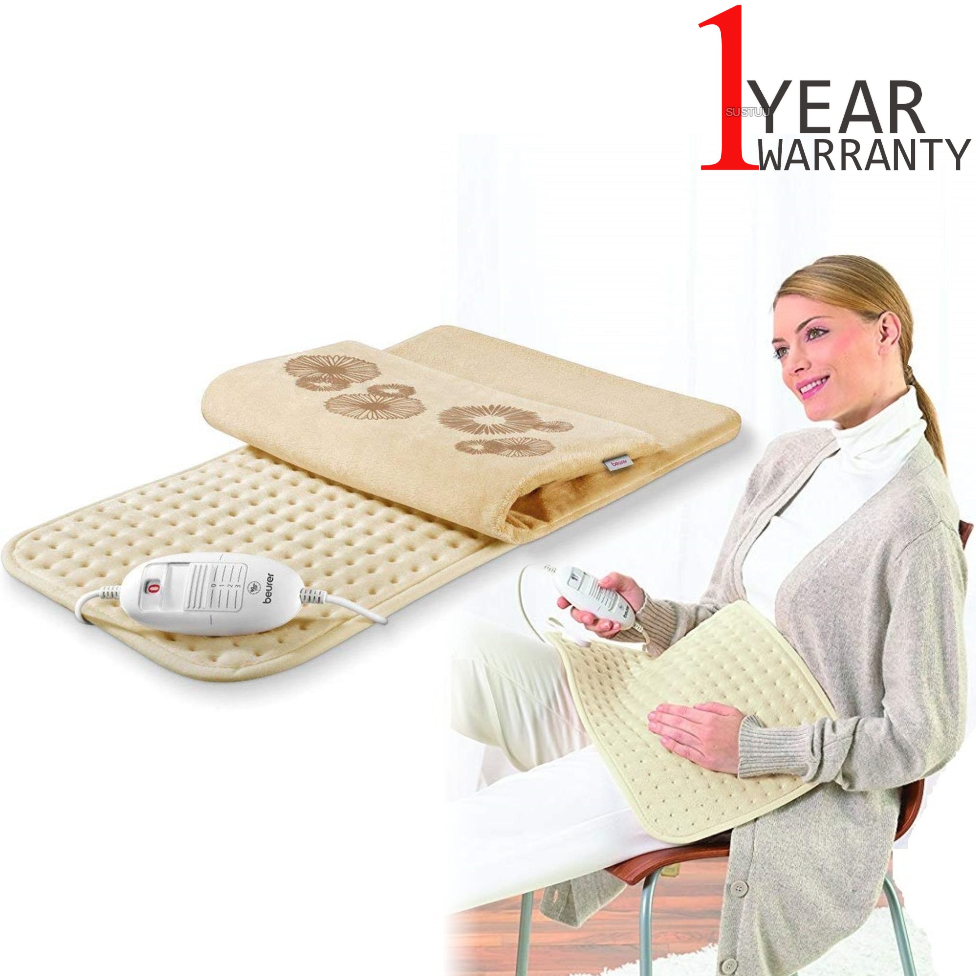 Beurer Cosy Luxury Electronic Heating Pad | 3 Illuminated Temperature Setting | 100W