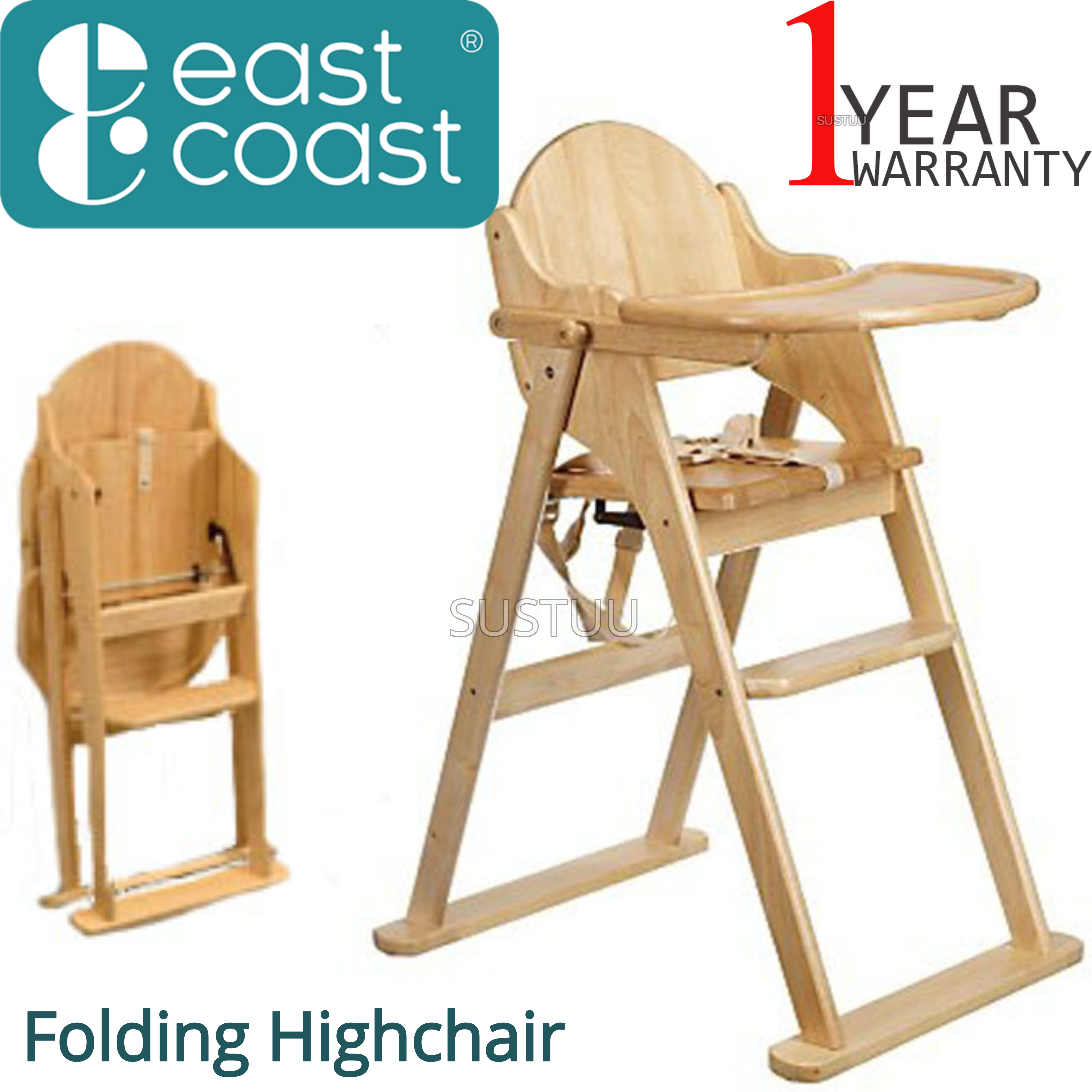 East Coast Folding Highchair | Kids Wooden Chair With Safety harness | Easy Storage