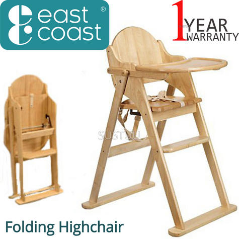 East Coast Folding Highchair | Kids Wooden Chair With Safety harness | Easy Storage Thumbnail 1