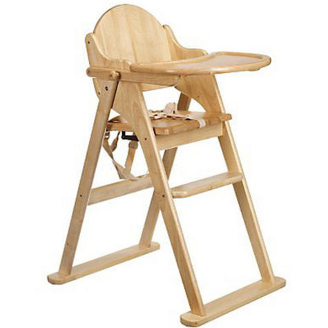 East Coast Folding Highchair | Kids Wooden Chair With Safety harness | Easy Storage Thumbnail 2