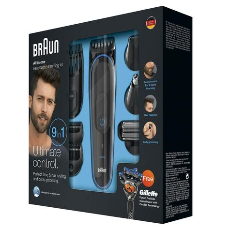 Braun Multi Groom Kit 9 in 1 | Beard/Body Trimmer & Shaver | Gillette Proglide Razor Thumbnail 3