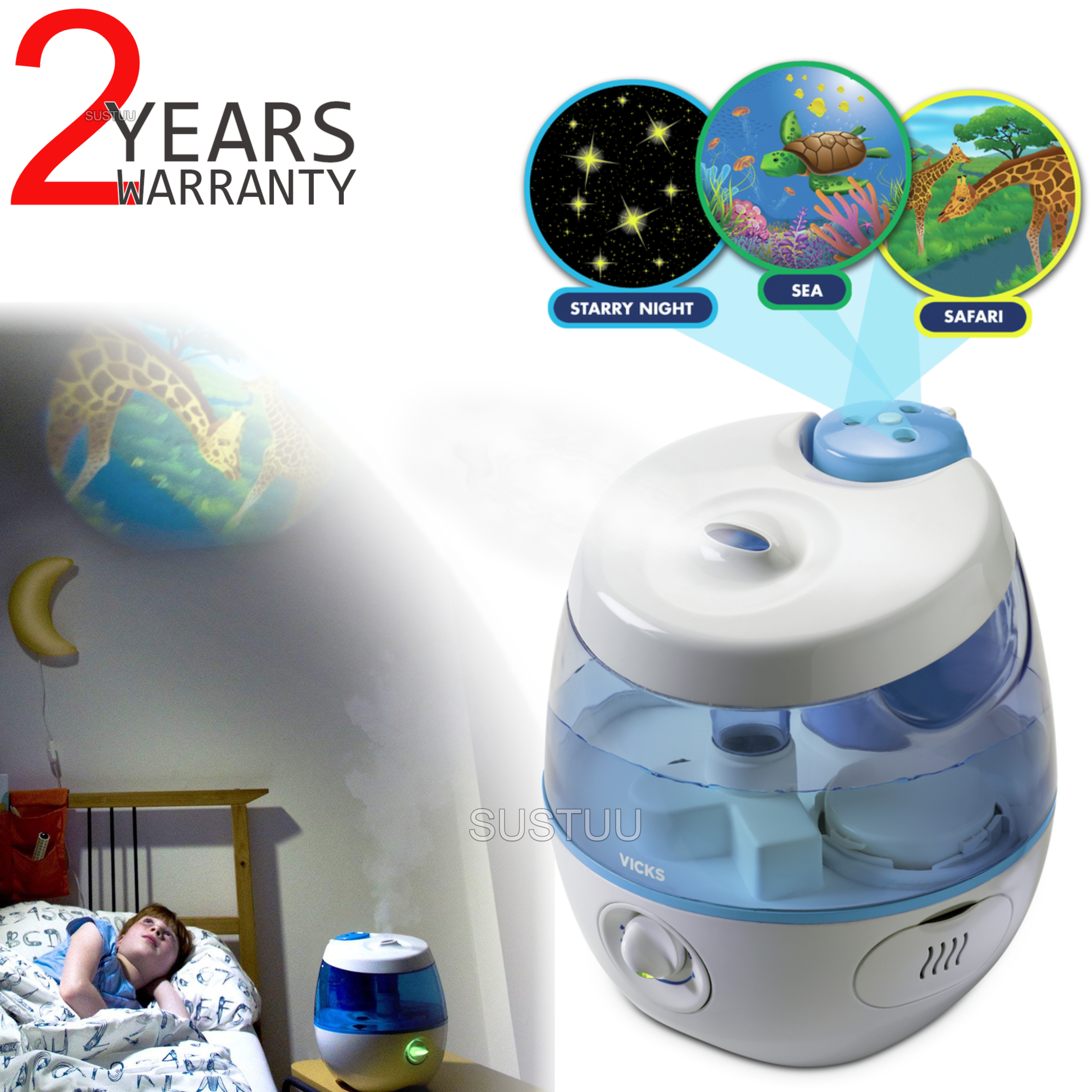 Vicks Sweet Dreams Cool Mist Humidifier with Image Projector 2 in 1 | Safe & Quiet