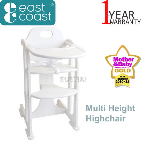 East Coast Multi Height Highchair | Kids Chair With Adjustable Seat+Footrest | White Thumbnail 1