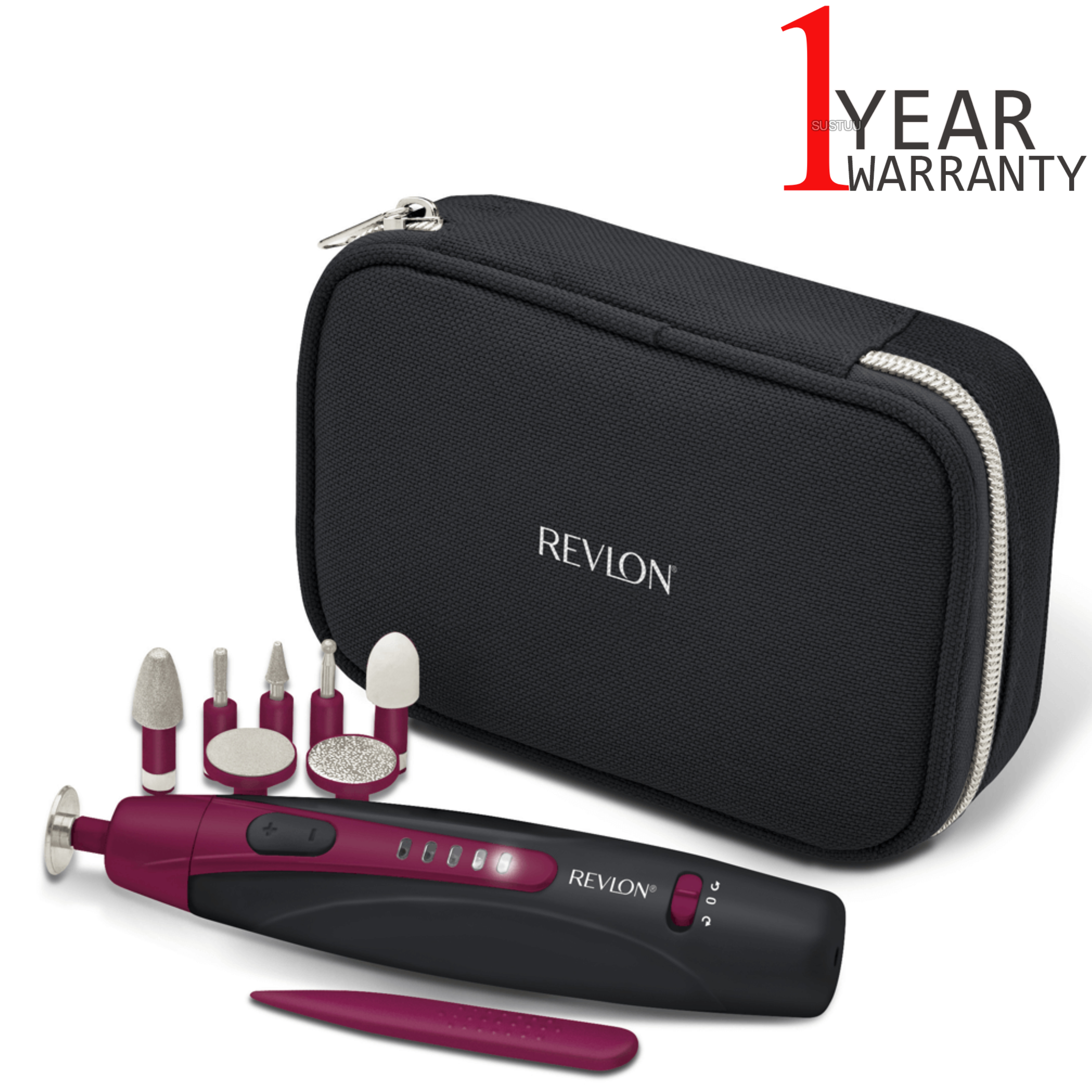 Revlon Travel Chic Manicure & Pedicure Set | Portable & Rechargeable | 9 Attachments